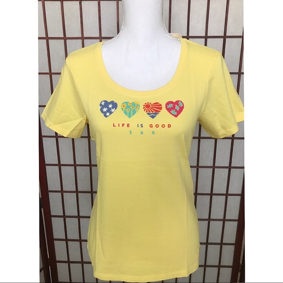 Life Is Good Tops - Life Is Good Happy Yellow Hearts SHIRT Top